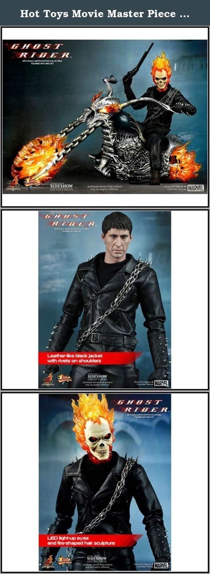 """Hot Toys Movie Master Piece Marvel Ghost Rider Limited Edition Figure With Hellcycle 12"""" Figure Set. Hot Toys' Movie Masterpiece Series, the 1/6th scale Ghost Rider Limited Edition Figure with Hellcycle from the Ghost Rider movie. The highly detailed Ghost Rider collectible is specially crafted based on the image of Nicolas Cage in the movie, highlighting the newly sculpted head and skull, light-up functions on skull and detailed weapons. The set also comes with a motorcycle with light-up..."""