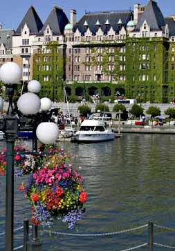Inner Harbour, and Empress Hotel in the background - Victoria BC Canada ... My first trip to Victoria was when I was 15 and I fell in love with it. Especially the flowering hanging baskets which are still traditionally hung and just as gorgeous as ever.