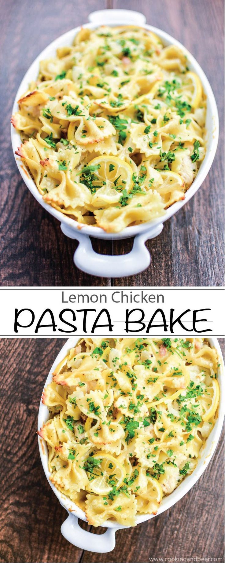 Lemon Chicken Pasta Bake is the perfect casserole for dinner! Recipe via www.cookingandbeer.com