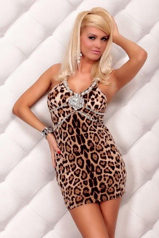 Bruin luipaard jurkje, versierd met steentjes