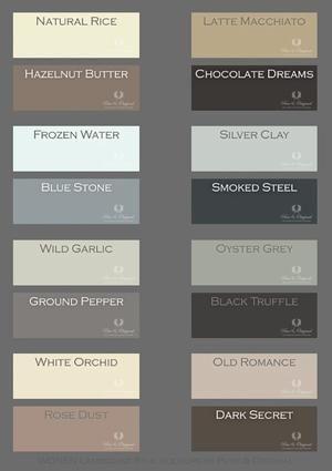 Bekijk de foto van Pure & Original met als titel Mooie warme tinten. per 4 perfect te combineren, maar natuurlijk ook met andere tinten. deze kleuren zijn er in de kalkverf, krijtverf en matte alk. en andere inspirerende plaatjes op Welke.nl.