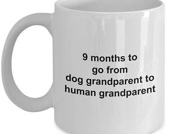 Pregnancy Announcement Grandparents Mug - 9 Months To Go - Funny Grandpa Grandma Coffee Gift Cup