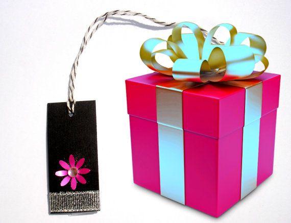 Gift Paper Card Tag  Black  Flower Gift Tag  Elegant by ScrapCati, $6.00