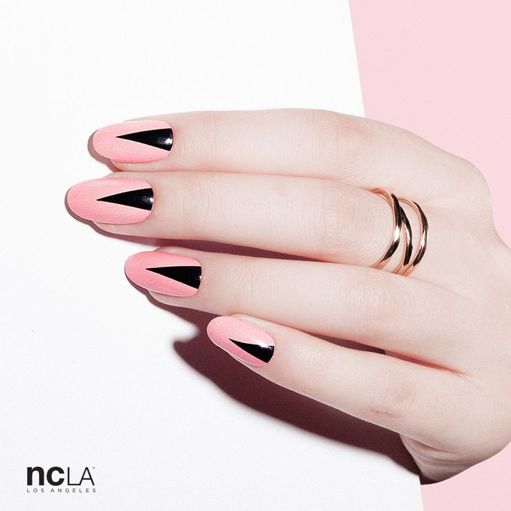 Pink and black easy graphic nail art