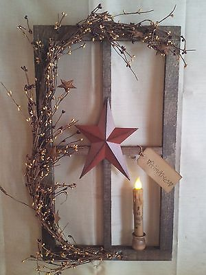 primitive decor~ stained window pane display ~ country ~ timer led candle