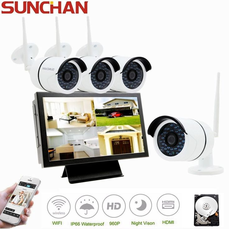 """4CH Wifi NVR 10"""" LCD Monitor 960P Wireless Home Security Camera System Night 1TB #SUNCHAN"""
