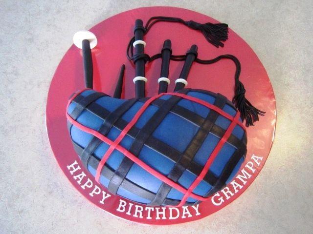 Bagpipe Cake Glasgow Rangers Tartan — Birthday Cakes