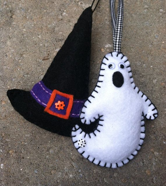 Witch's Hat and Ghost Felt Ornament by patsfabriccreations