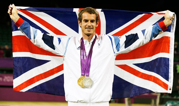 Andy Murray with his Olympic tennis gold for Team GB! Great match! -E