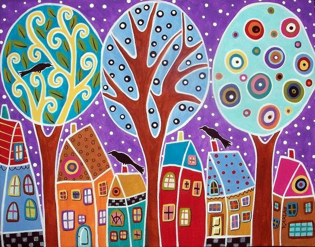 3 Trees 3 Birds & 6 Houses    14x11x3/4 Original abstract folk art painting by Karla Gerard