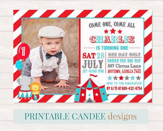 Circus Birthday Invitation Circus 1st Birthday by printablecandee