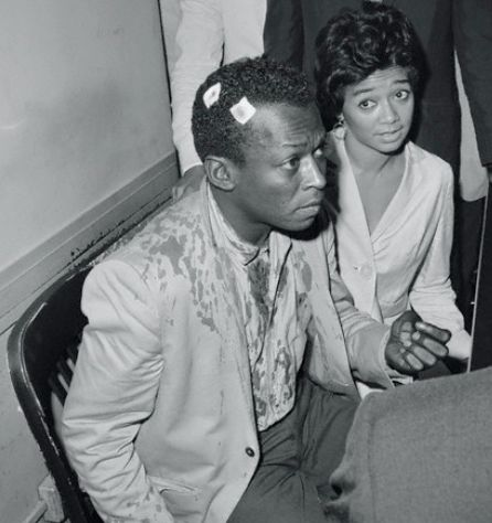 "tornandfrayed: "" Miles Davis and his wife Francis after his release on bail from The Tombs in Manhattan. Photo by Stanley Hall, in 1959. """