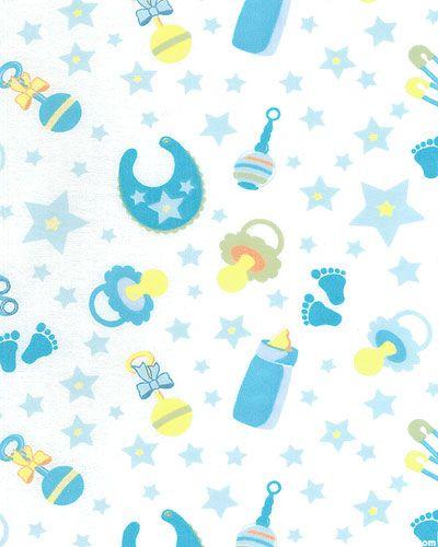 "Little Nursery - Babies Goodies - Baby Blue - 42"" FLANNEL"