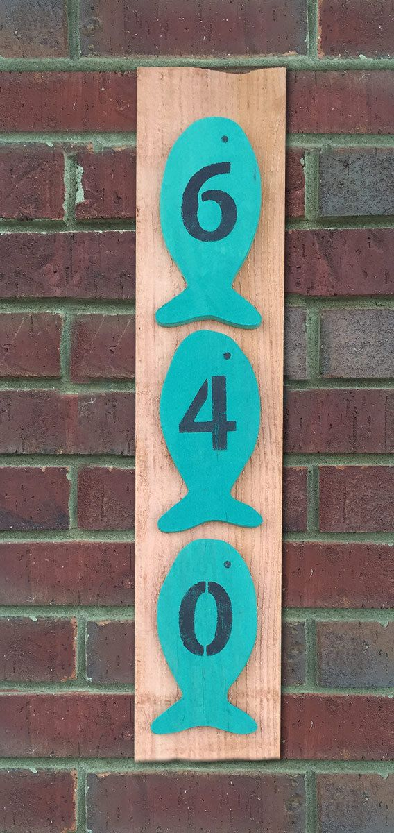 This listing is for Custom House Numbers, Address Sign, Wood House Numbers, House Number Plaque, Fish Decor, Lake House Gift, Beach House Gift, Address Numbers. These painted rustic fish decor house numbers will signal to all who approach that there are fishing enthusiasts in residence. Dimensions: Tall: about 7 1/2 from nose to tail Width: about 3 3/4 wide Each fish is handmade from beginning to end. Each one is cut from 3/8 plywood. The painting is done with chalk paint col...