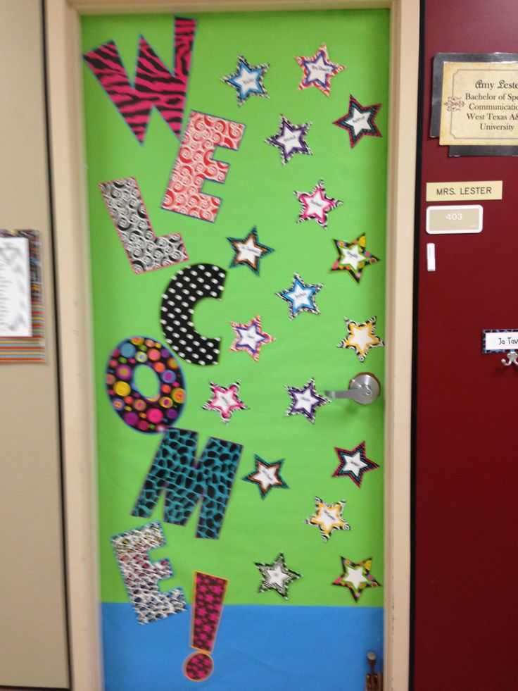 Welcome back classroom door classroom posters for Back to school decoration ideas for teachers
