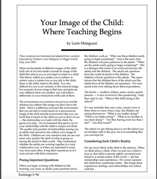 """""""Seeking to embody the image as teacher as researcher and create places of research in our settings is an important goal to work towards."""" Teacher as researcher is key in creating a Reggio environment."""