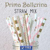 250 stücke Gemischt 5 Designs Baby Rosa und Gold Prima Ballerina Baby Dusche Trinkhalme, Gestreift, Sailor Streifen, Chevron, Herz