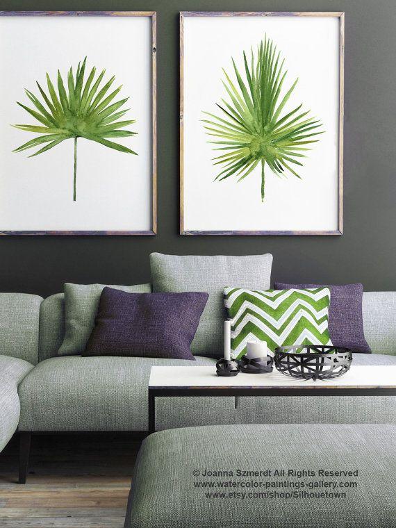 Palmera árbol hoja imprimir acuarela pintura, verde deja botánico set 2 ilustraciones Tropical, minimalista moderno abstracto arte Home Decor