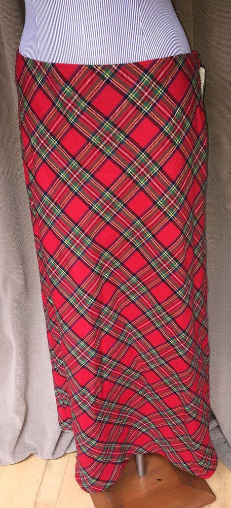 Ralph Lauren NEW tags NWT Classic Christmas Scottish Red Stewart plaid skirt 8 #RalphLaurenRALPH #onthebiaslong
