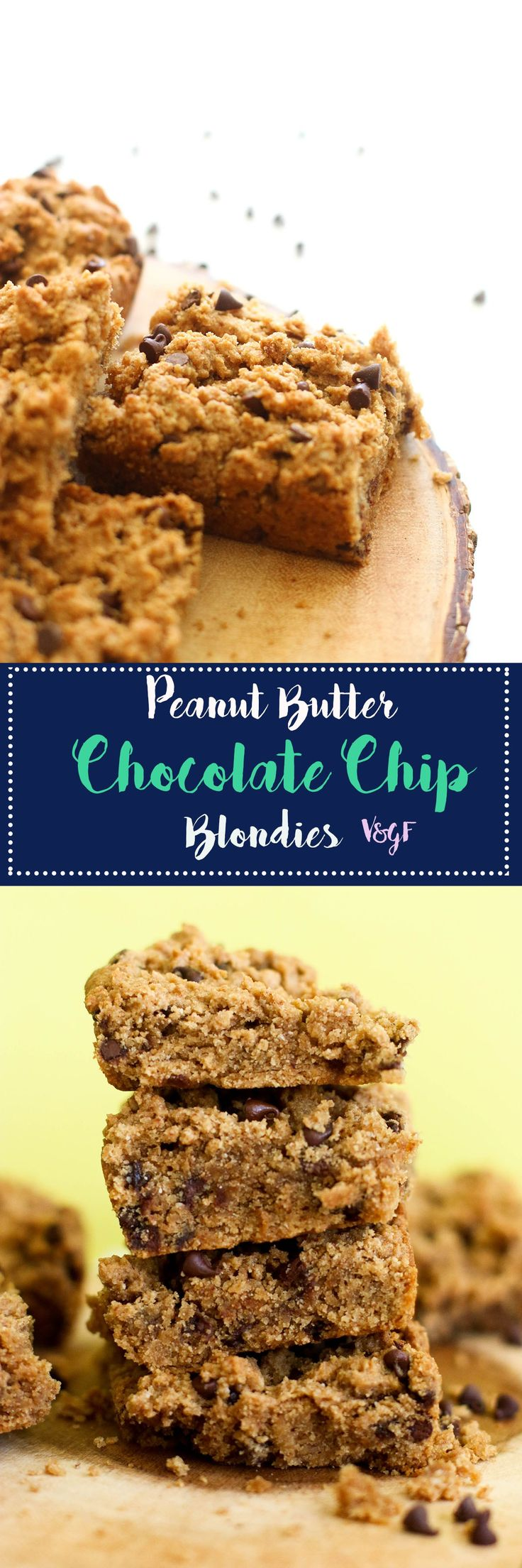 These peanut butter chocolate chip blondies are vegan, gluten free, refined sugar free, and full of flavor. They make for a great dessert or even better afternoon pick me up!