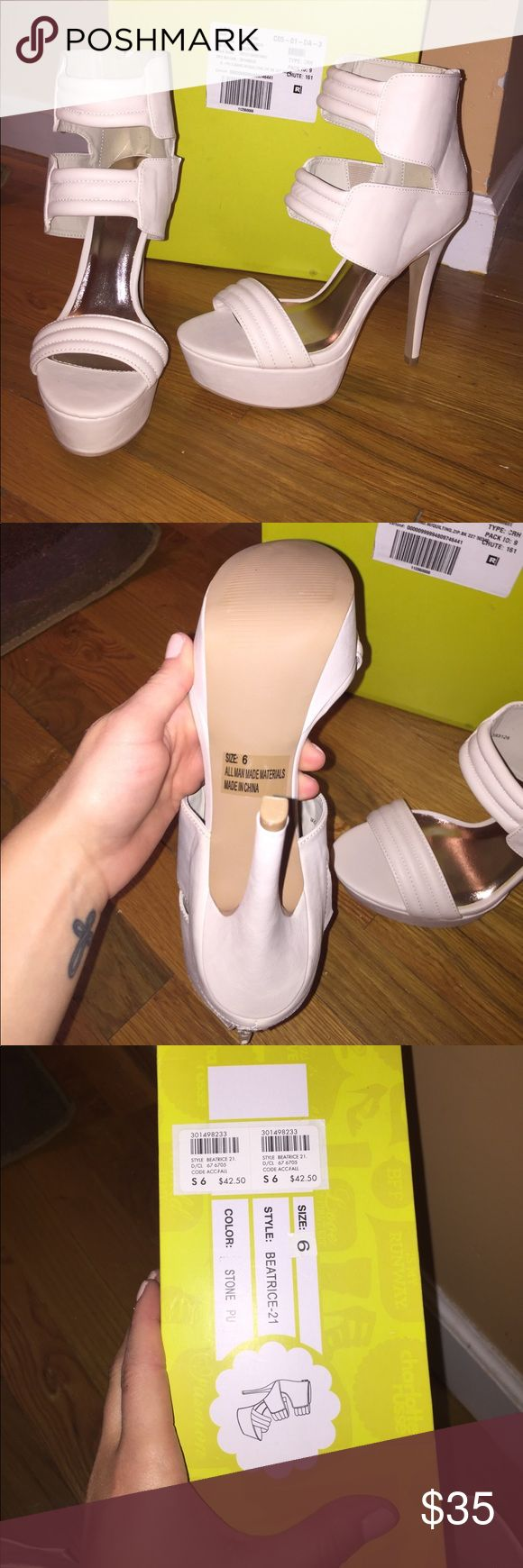 Stone colored Charlotte Russe heels Size 6, off white heels. Zip up in the back. NEVER WORN! Super cute but unfortunately they were too big for me. Charlotte Russe Shoes Heels