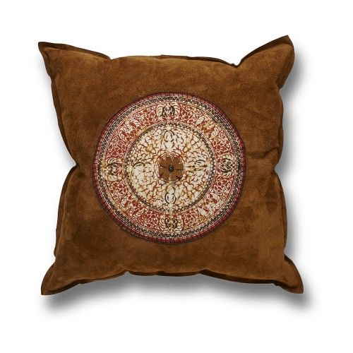 This beautiful suede and batik pillow lends an earthy yet exotic touch to your seating areas with its magnificent texture, colour and pattern.  Materials sourced through Africa.