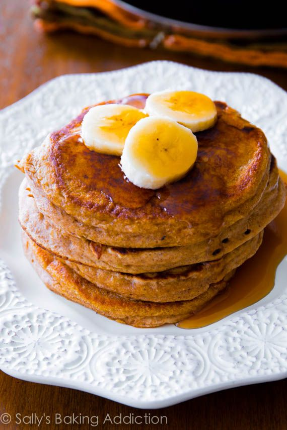 Whole Wheat Banana Pancakes! Delicious!! Paired it with some homemade turkey breakfast sausage and simple scrambled cheddar eggs. OMG. Have tried 5 other healthy pancake recipes and this one is by far the best!! Even better than the non-healthy pancake recipes I've made. My now go to pancake recipe!