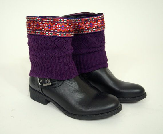 Purple Aztec boho boot cuffs-Boho boot covers-Gypsy boot cuffs-Hippie boot cuffs-Boot socks-Native American boot cuffs-Christmas gifts