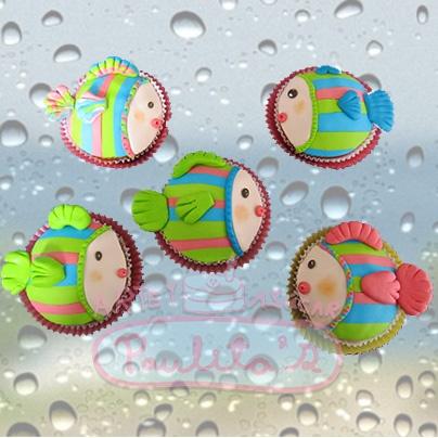 Cupcakes pescaditos, para una fiesta infantil, Cursos de elaboración y decoración de Cupcakes