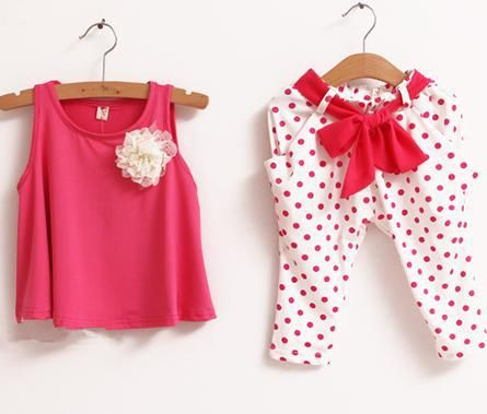 Retail NEW design 2013 new children's clothing summer set child flower female vest polka dot harem pants twinset US $6.00
