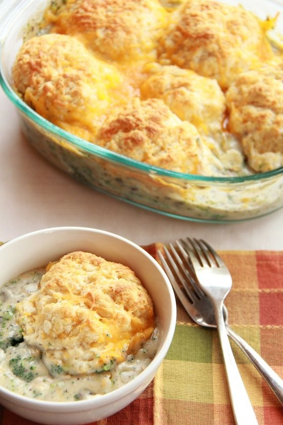 Creamy Broccoli Cobbler topped with Cheddar Cheese Biscuits