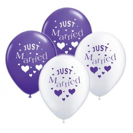"""Mal was Anderes Hochzeitsballons """"Just Married"""" in Lila und Weiß"""