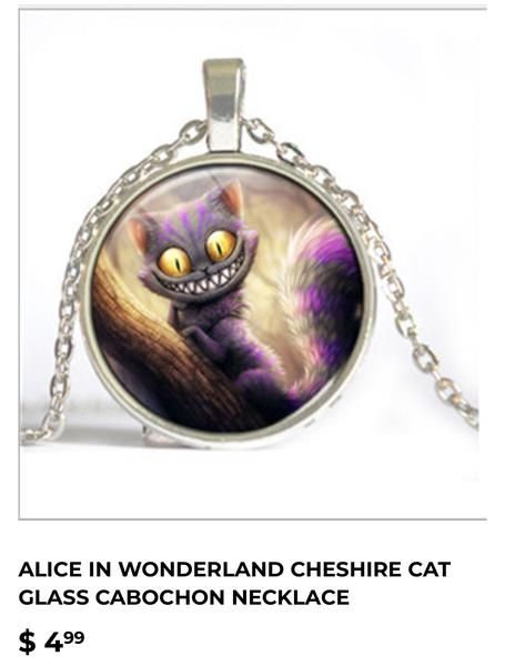 Cheshire Cat Glass Cabochon Necklace
