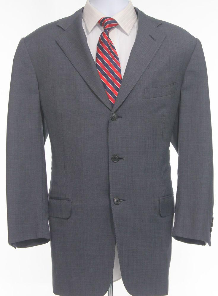 Ermenegildo Zegna Wool Blazer Mens Birdseye Navy Sport Coat Three Button Jacket #ErmenegildoZegna #ThreeButton