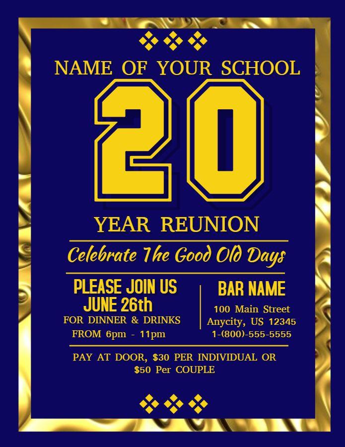 school reunion poster template golden