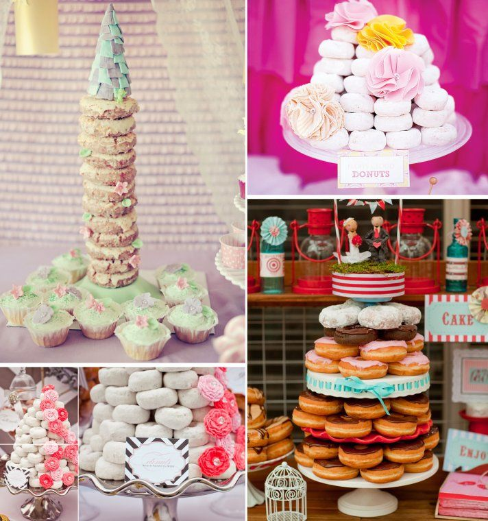 9 Sweet Wedding Cake Alternatives | OneWed ________________________ This would me absolutely magical... Coconut doughnuts @.@ *wishes she could have one*
