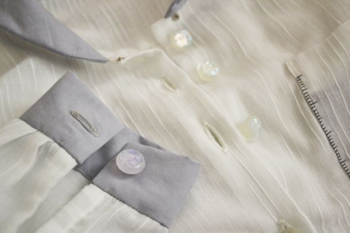 semi-transparent shirt hand stitched buttonhole detail by Minus Sun