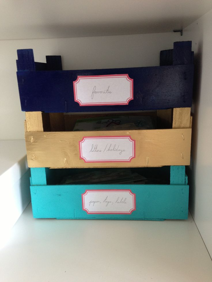 Spray Painted Crates with homemade labels  these r made from clementine crates