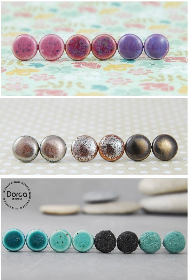Tiny ceramic earrings- a lot of colours