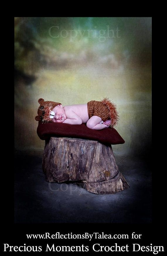 NEW Baby Beaver Newborn Crochet Hat   and Diaper Cover  Set PHOTO PROP