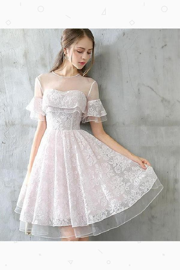 98692c429 Cute Prom Dress, Lace Homecoming Dresses, Prom Dress Short #Prom #Dress # Short #Lace #Homecoming #Dresses #Cute #PromDressShort  #LaceHomecomingDresses ...