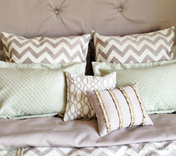 How to make a European pillow sham... Ucreate Bedroom Makeover - lots of pillows!