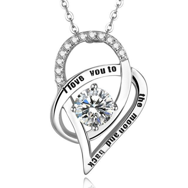 I Love You To The Moon And Back Necklace Double Love Heart Custom Sterling Silver Name Necklace For Girlfriend Christmas Gift