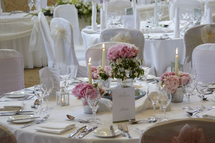 Table set up with pink roses