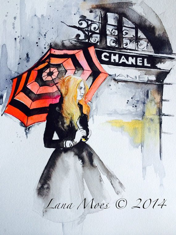 Chanel Inspired print from Original Watercolor by LanasArt on Etsy