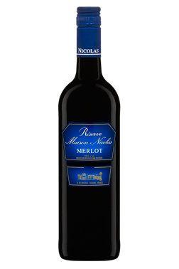 Réserve Maison Nicolas Merlot, Vin rouge, 750 ml, Fruité et généreux... Code SAQ :  00434993 Code CUP :  00083729002463... FRANCE, Pays d'Oc, PRODUCTEUR Les Domaines Virginie, DEGRÉ D'ALCOOL12,5 %... 12.65$... Réf par Sue.