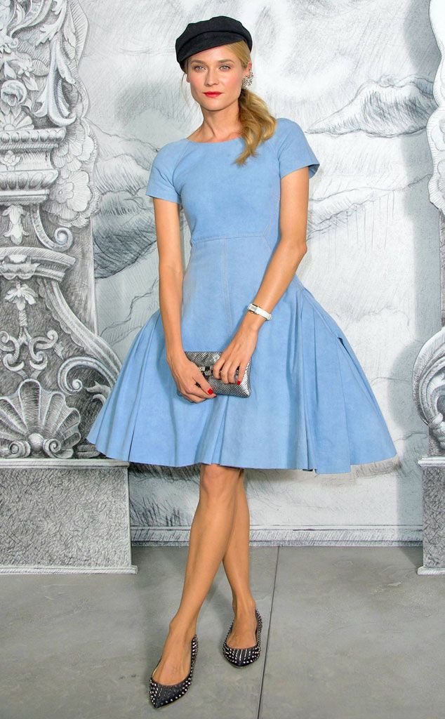 """Trying Too Hard from Fashion Police  <p><strong>Diane Kruger</strong> is German, so maybe the word """"cliché"""" gets a little lost in translation. Nonetheless, the model-actress-girlfriend to Joshua Jackson looks like she's walked straight out of a Disney theme park and into the Chanel Haute Couture runway show in France. She pairs her baby-blue dress with studded ballet flats, a silver clutch and red lips. She looks sweet and stunning, but that beret-like cap is just total overkill.</p>"""