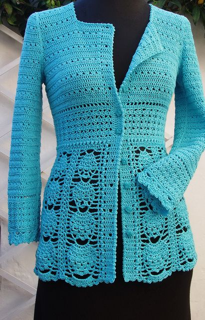 Crochet Blue Jacket by Ingunn Santini - this is gorgeous! I'd like to crochet this jacket this year.