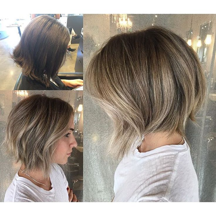 "677 Likes, 17 Comments - Mirna Pridham (@hairbymirna) on Instagram: ""Before and after foilayage and a texture razor bob. #handpainting #balayage #foilayage #shorthair…"""