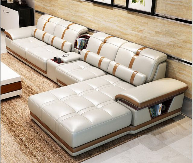 Living Room Sofa Set Furniture Real Genuine Cow Leather Sofas